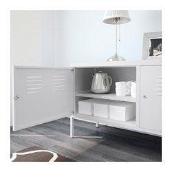 IKEA - IKEA PS, Skap, hvit, , Et kabeluttak under gjør det enkelt å samle alle ledninger på ett sted.Dørene kan låses, slik at du kan oppbevare dine mest dyrebare ting sikkert.Høye ben gjør det lettere å gjøre rent.