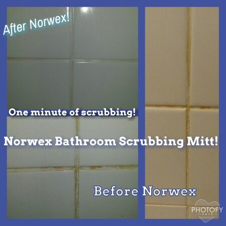 Tile bathroom and cleanses on pinterest for How to use norwex bathroom scrub mitt
