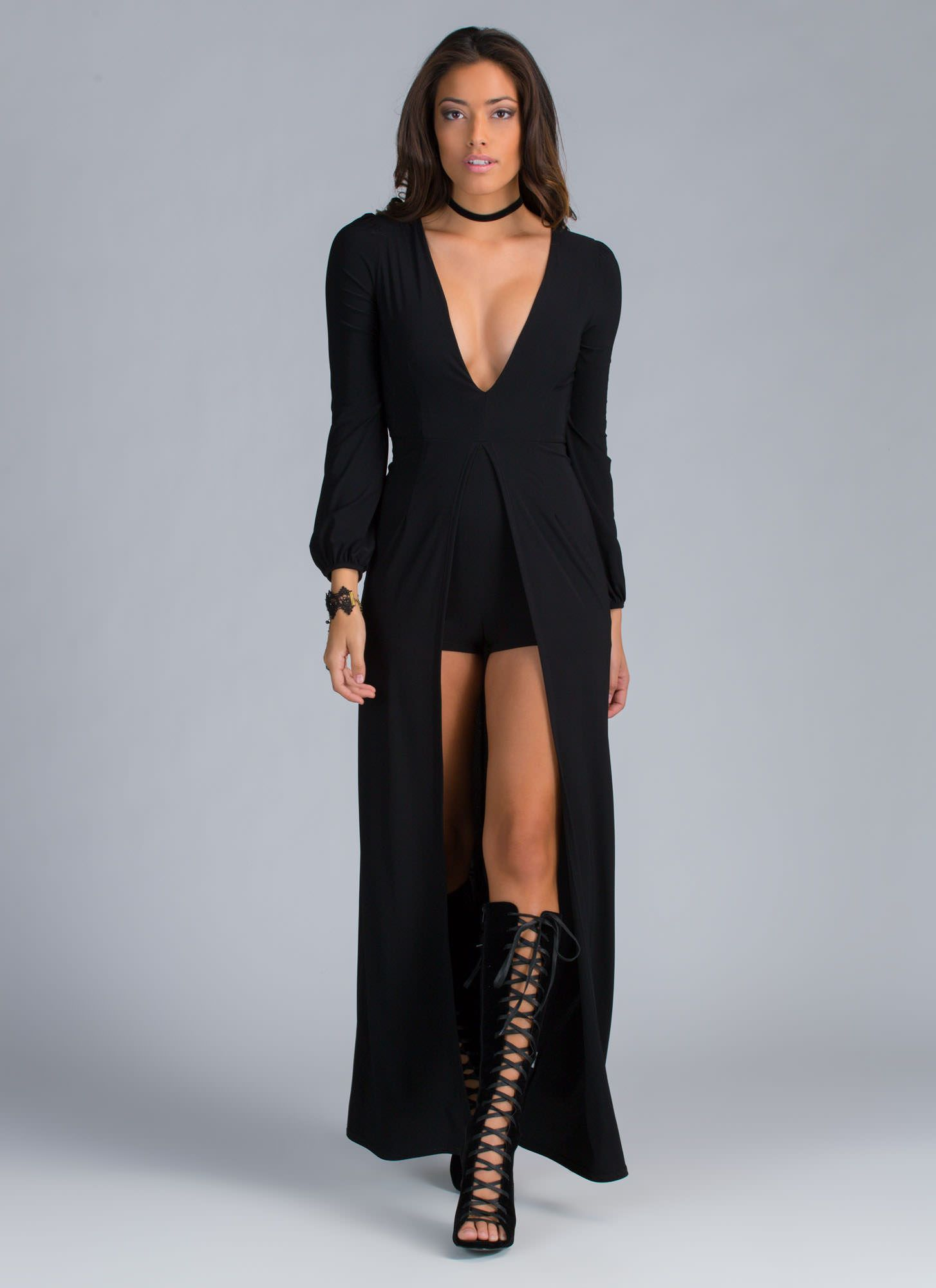 813977ffff6 Everything about this stylish high-low romper just screams pure glam ...