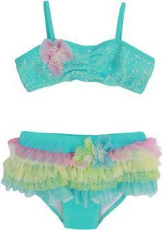 243cd07246 Isobella & Chloe Girls Sea Spray Aqua / Pink Sea Spray Ruffle Swimsuit -  Bikini