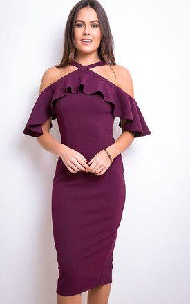 56f6787d7ecb Holly Halterneck Frill Cold Shoulder Midi Dress Plum | TAILORING ...