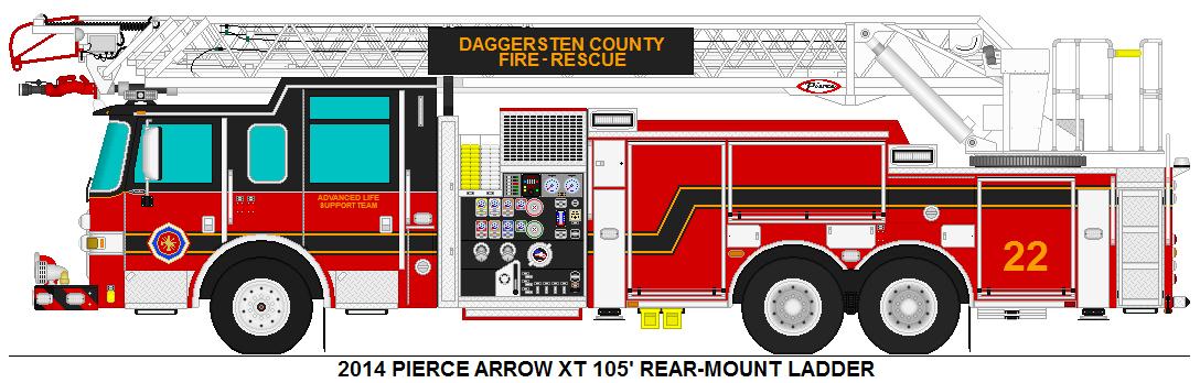 2014 PIERCE ARROW XT 105' REAR-MOUNT LADDER
