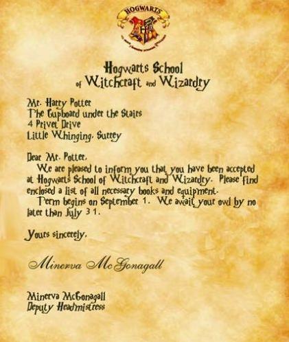 Harry Potter Owl Post with Hogwarts Acceptance Letter