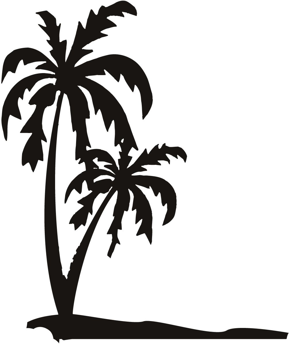 Palm Trees on The Beach Sand Wall Art Decals Wall Stickers ... for Wall Sticker Tree Silhouette  67qdu