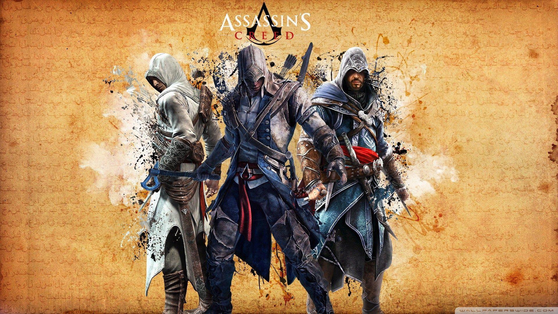 Assassins creed hd desktop wallpapers for hd wallpapers assassins creed 3 ancestors left to right altair connor ezio voltagebd Gallery