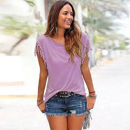 Women Casual Loose Vogue Tops Tassel Shirt Short Sleeve Top Summer