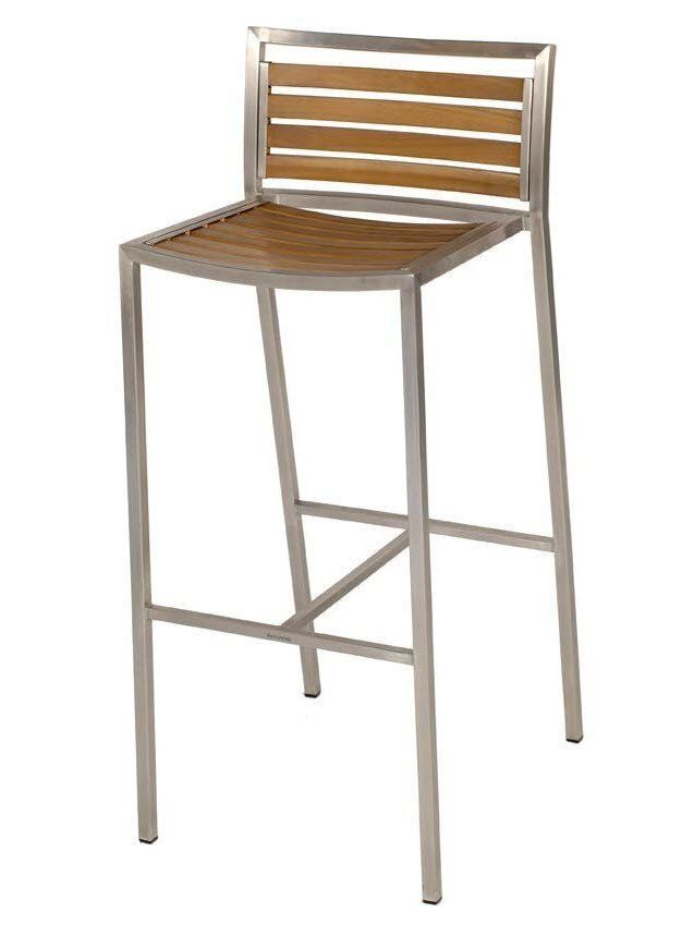 Plantation Outdoor Timber Slats Stainless Steel Bar Stool With Back Simply