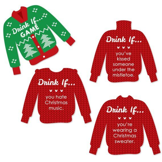 Drink If Ugly Sweater Christmas Party Game Holiday Office Party