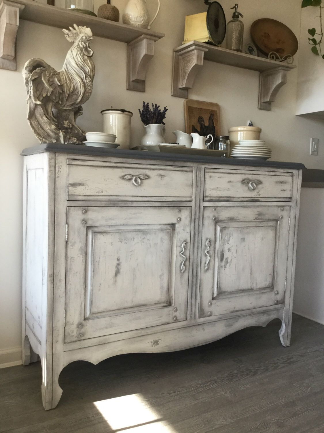 Buffet, Sideboard, Changing Table, Kitchen Cabinet / Chippy White ...
