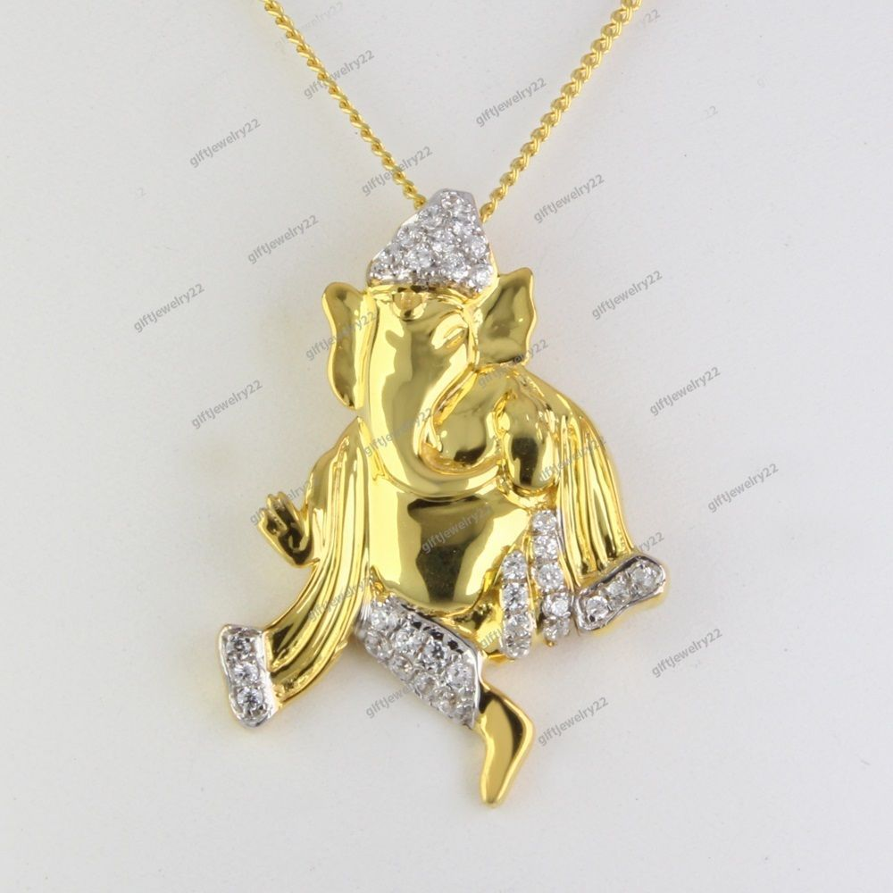 Simulated Diamond Studded Elegant Fashion Charm Pendant Necklace in 14K Yellow Gold Plated With Box Chain