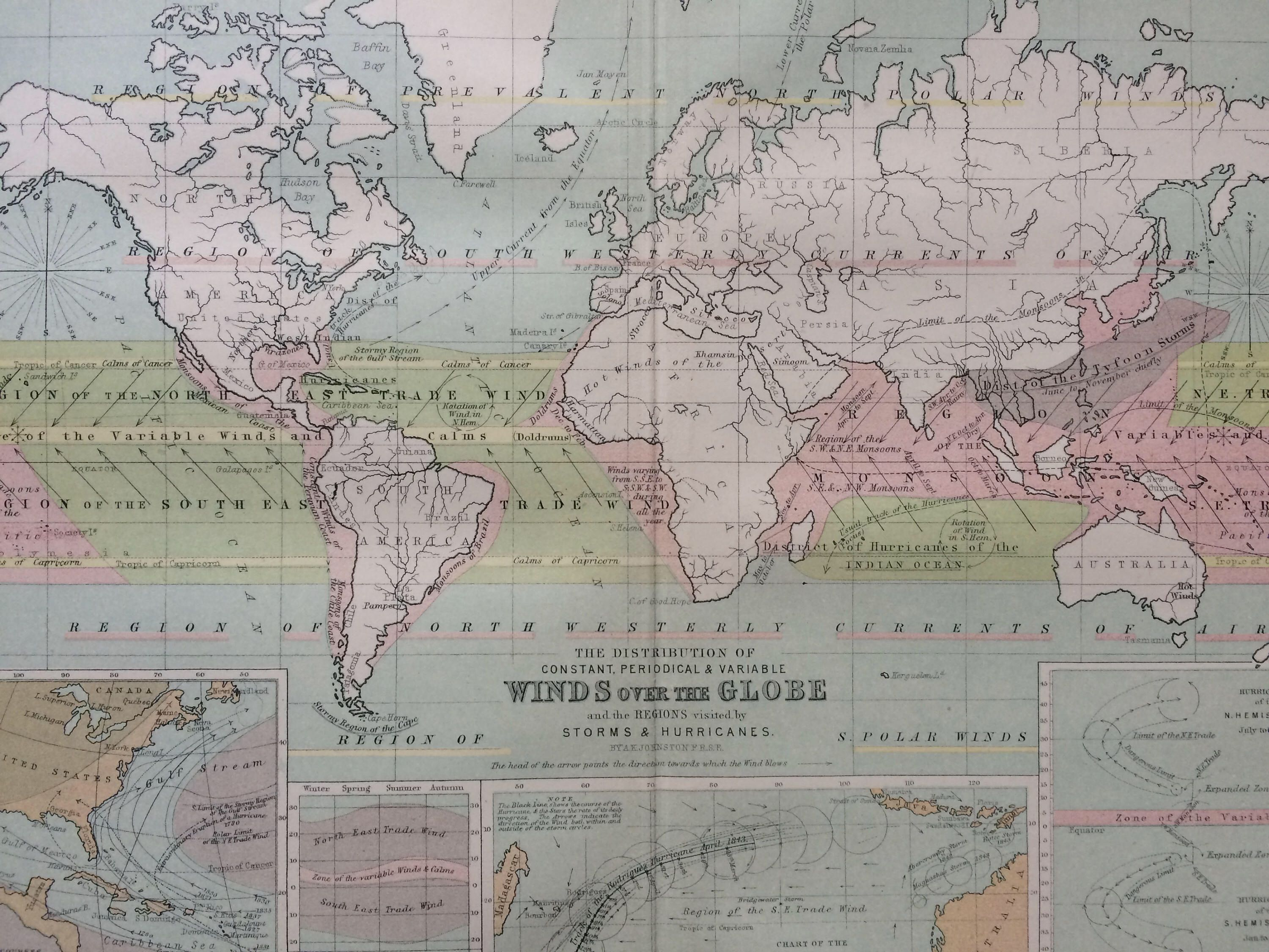1873 original antique world map showing the distribution of constant 1873 original antique world map showing the distribution of constant periodical and variable winds over gumiabroncs