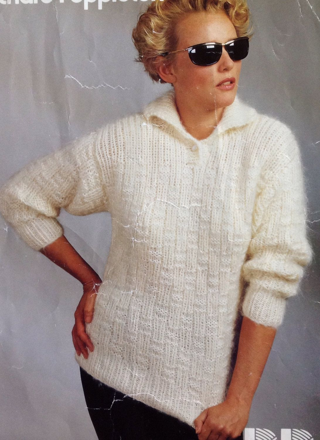 9e3aef032f9d79 Ladies Woman s Chunky Knit Jumper Sweater with Collar Knitting Pattern size  32-38in 81-96.5cm by makenshare on Etsy