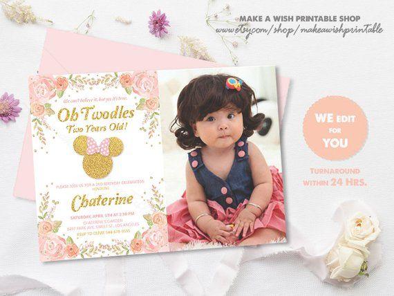 Birthday Invite with Photo, Minnie 2nd Birthday Invitation with
