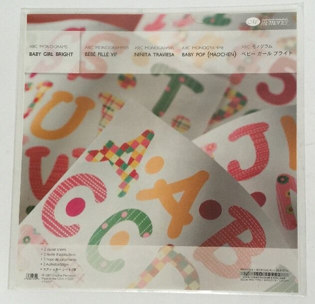 New Creative Memories ABC Monograms Baby Girl Bright Stickers #CreativeMemories