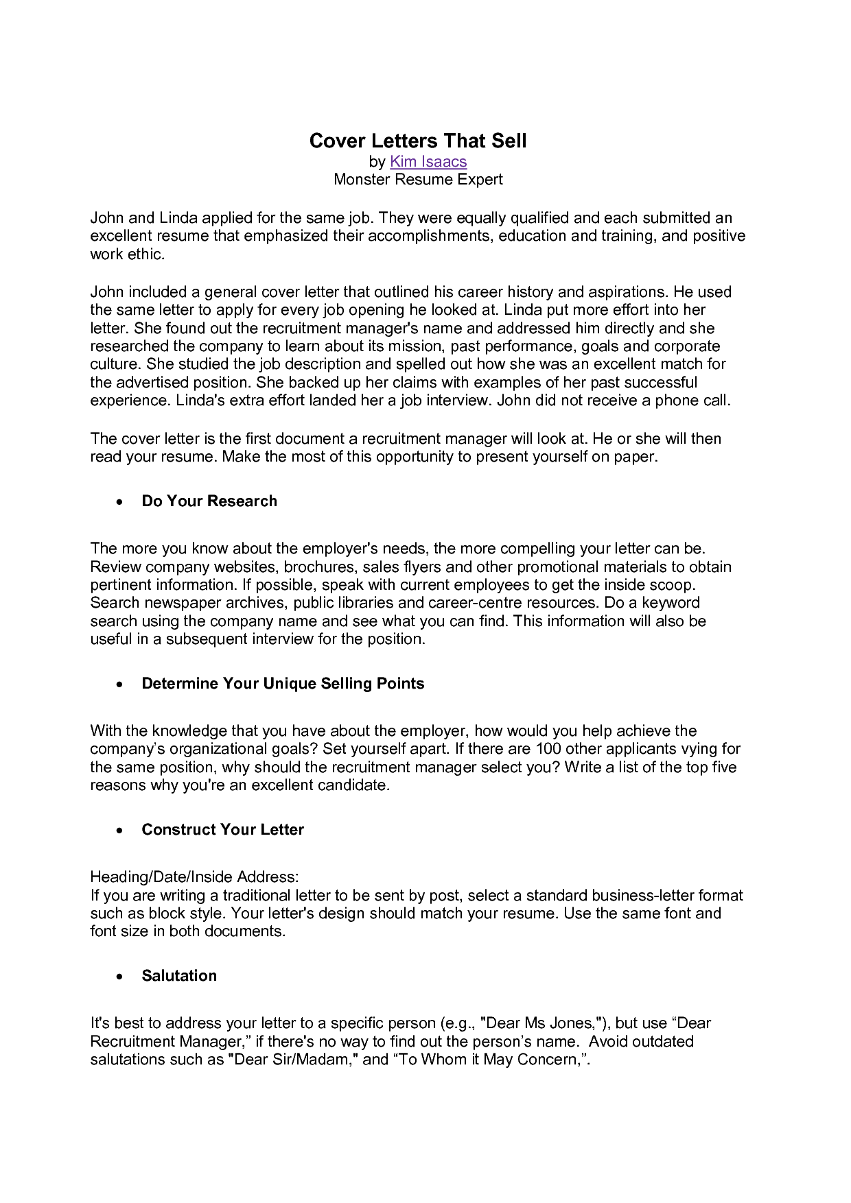 monster cover letter samples