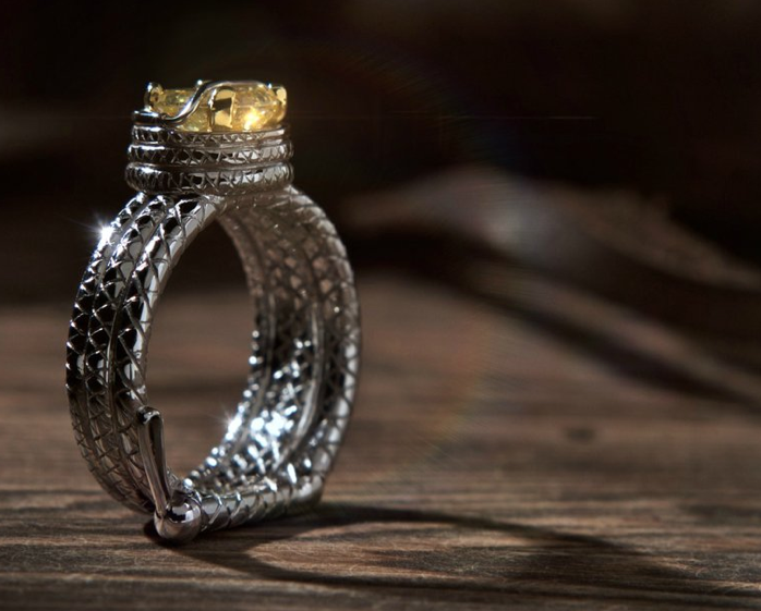 """Indiana Jones Engagement Ring - the whip is a continuous loop - yellow diamond is """"the idol"""""""