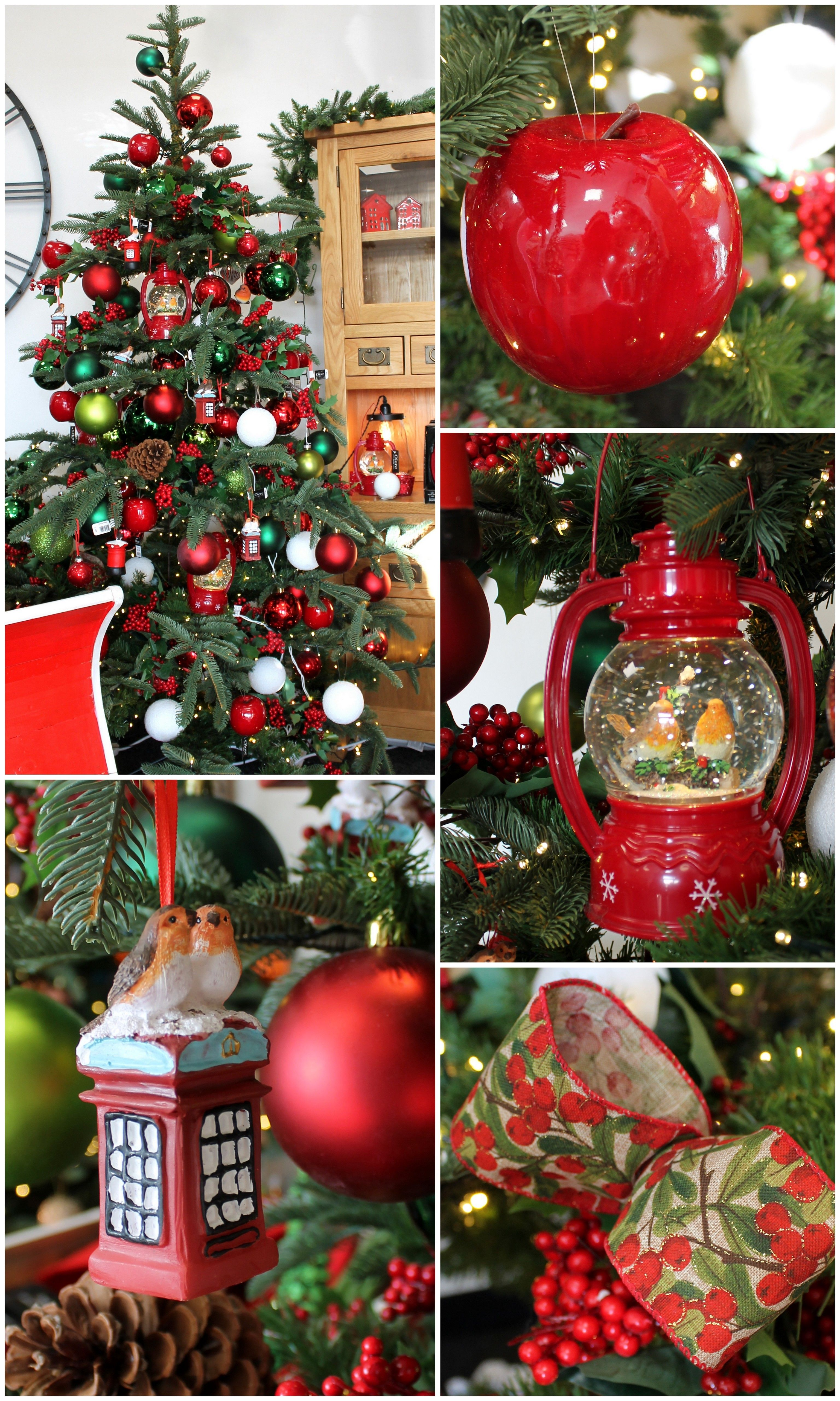 Traditional Christmas Tree With Red Green Decorations Berries
