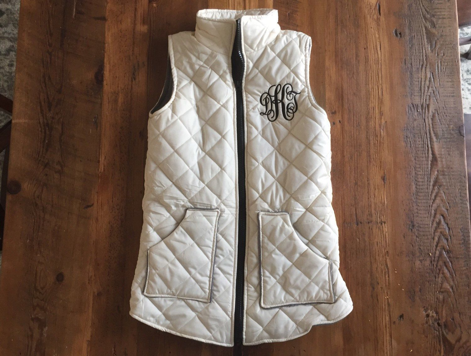 A personal favorite from my Etsy shop https://www.etsy.com/listing/270401353/sale-womens-monogrammed-puffer-vest