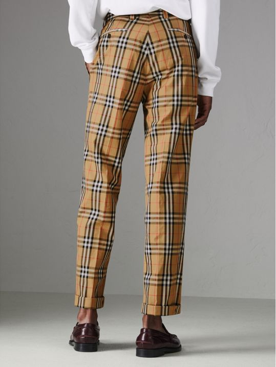 Vintage Check Cotton Trousers in Antique Yellow - Men   Burberry United  States - cell image 2 a3329de3f90