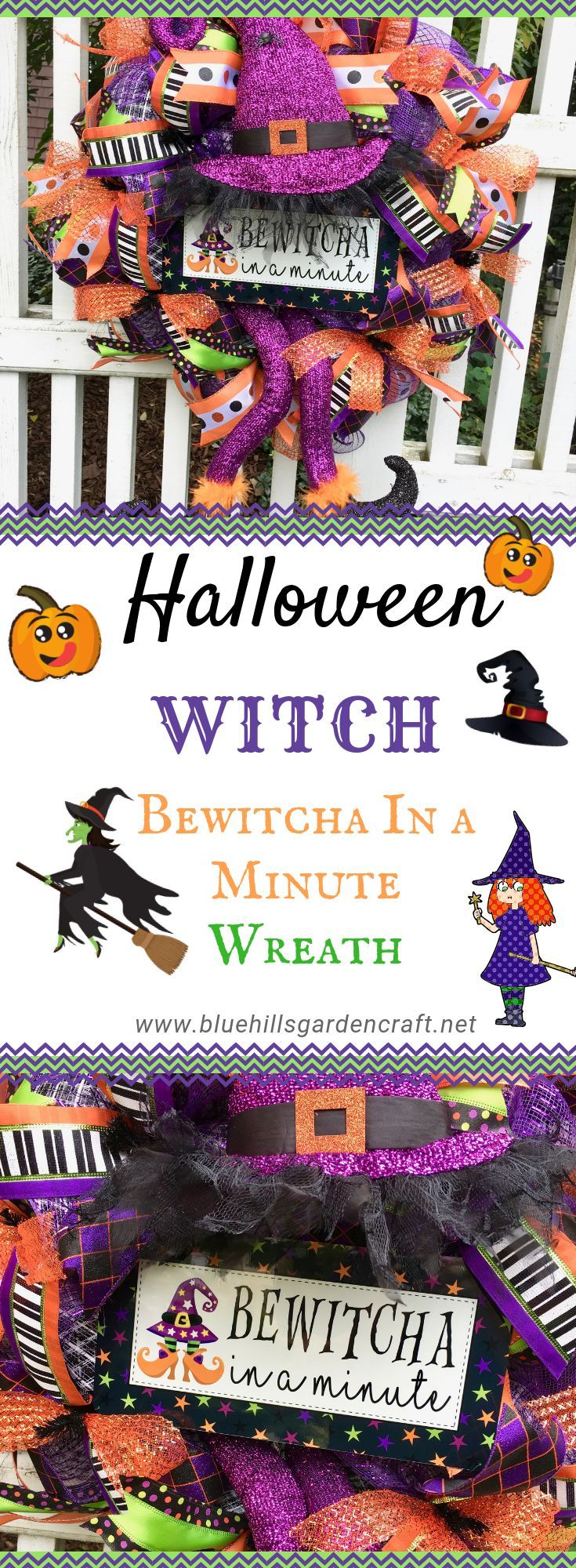 Halloween Wreath Bewitcha In A Minute Decor Halloween Decor Etsy Halloween Wreath Halloween Door Wreaths Halloween Witch Wreath