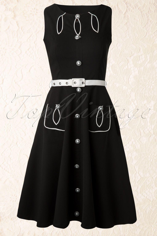 Vixen - 40s Jasmin Black Swing Dress