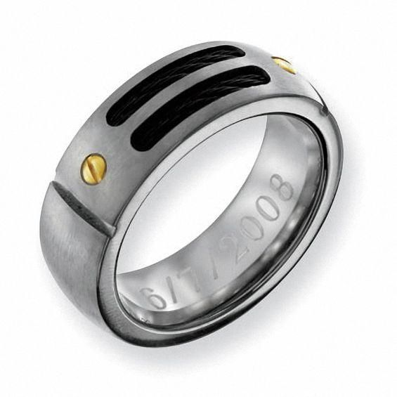 Zales Mens 8.0mm Engraved Black IP Titanium with 24K Gold Accent Wedding Band (18 Characters) d9Hj1H