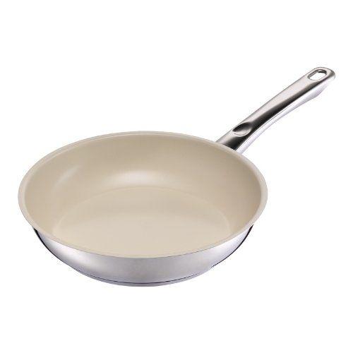 Kuhn Rikon 'Inox Ceramic' Frying Pan, 11.02', Silver/Beige -- Click image for more details.