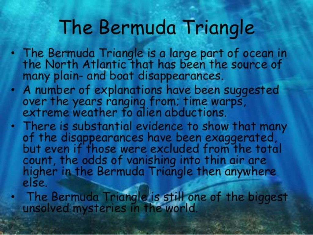a brief history of the disappearances in the bermuda triangle in the atlantic ocean Bermuda triangle: 'there's been a simple explanation to the disappearances all  along'  puerto rico and the island of bermuda in the north atlantic ocean,   two of the cyclops' sister ships disappeared along the same route in 1941   and had a history of getting lost and ditching his plane twice before.