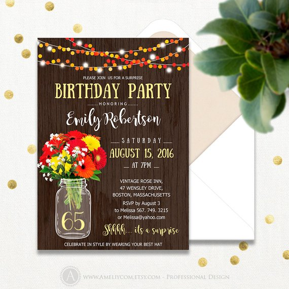 Surprise Birthday Invitations Printable Adult 65th Party Invite Rustic Mason Jar Gerbera