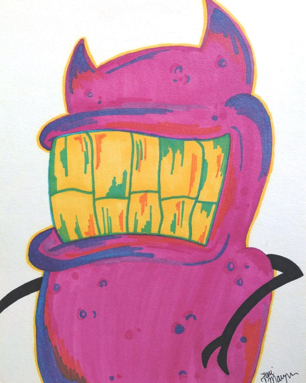Pink Monster Drawing, 8x10 Inch Drawing, Horror Monster Art, Monster ...