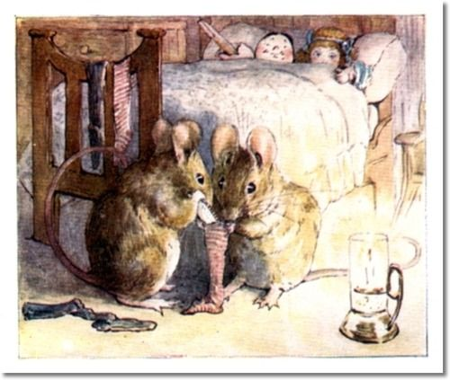 Potter, Beatrix - Beatrix Potter - The Tale of Two Bad Mice - 1904 - Tom and Hunca Munca Stuff Stocking with Sixpense