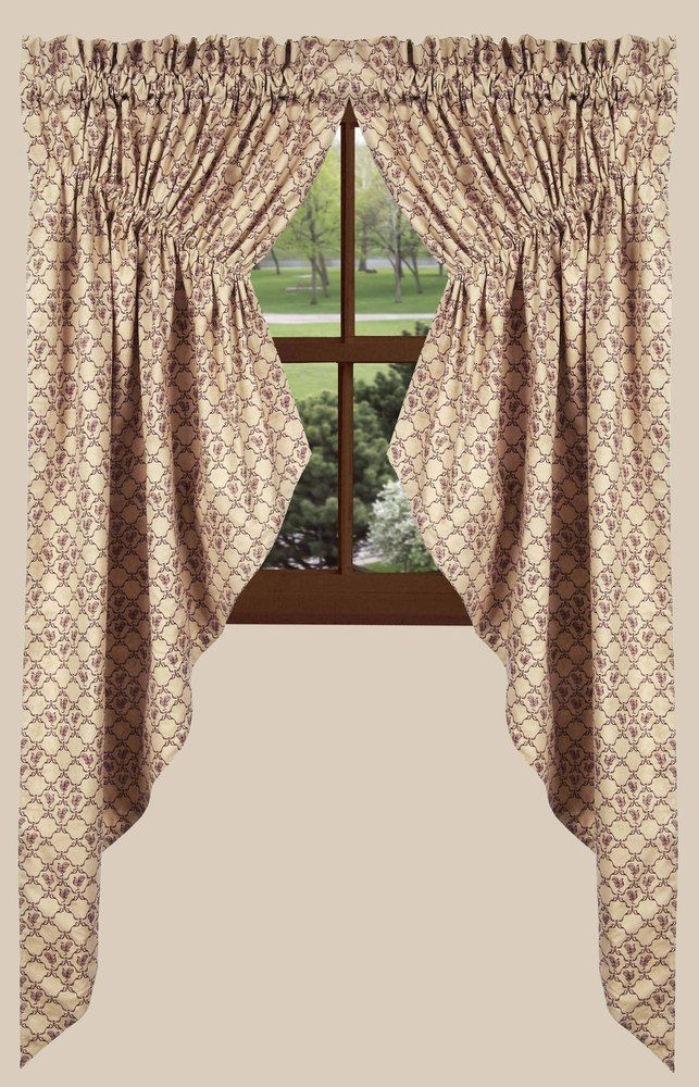 Chanticleer Gathered Swag Curtains In Barn Red | BestWindowTreatments.com