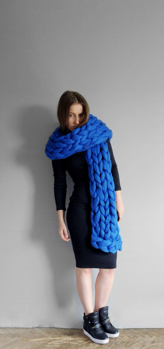 XXL scarf. Super chunky scarf 23 microns merino wool Very pleasant for touch.  Light and hypoallergenic. Its BLUE BIRD color on photo. Length is 80 a648aaf570d