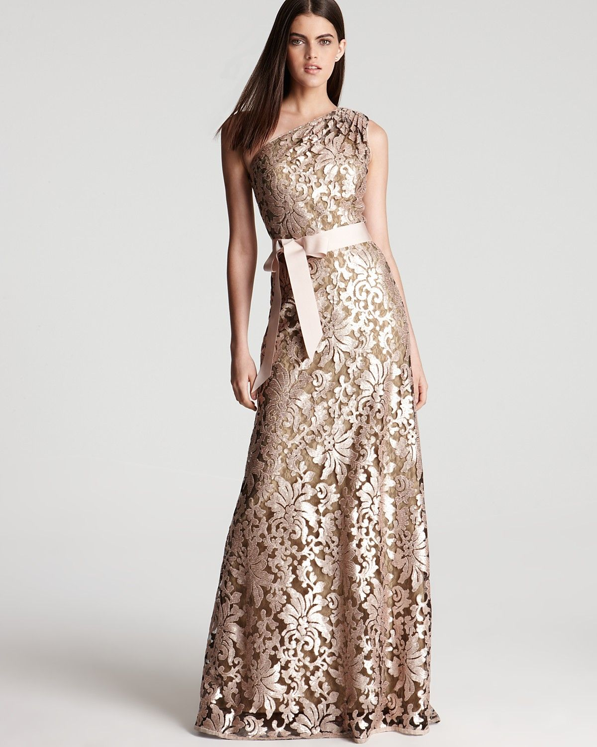Tadashi Shoji One Shoulder Gown Lace And Sequin Women Dresses Bloomingdale S Gowns Fancy Dresses Gorgeous Dresses