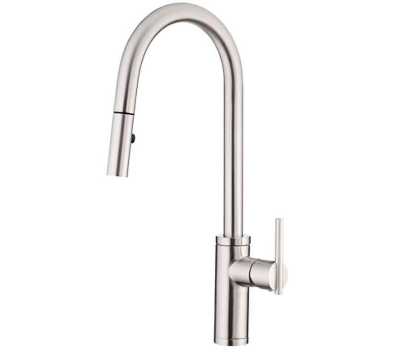 Danze D454058 Chrome Parma Cafe Single Handle Pull Down Spray Kitchen Faucet With Snapback Technology Faucetdirect Com Kitchen Faucet Faucet Single Hole Kitchen Faucet