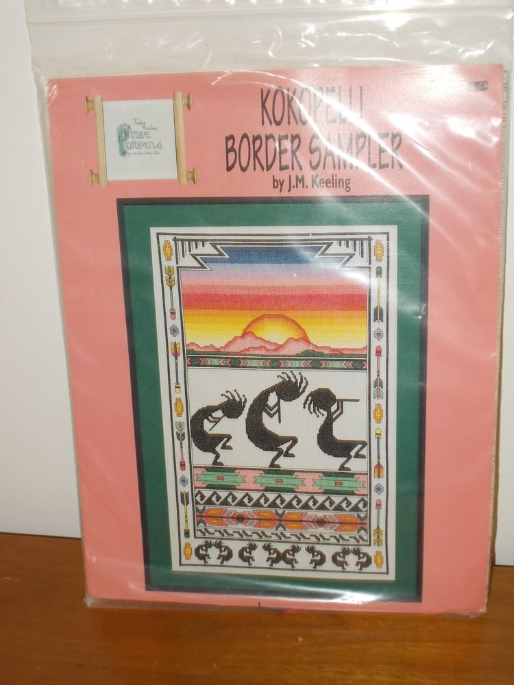 counted cross stitch kit   Kokopelli Border Sampler by JM Keeling  #Sampler