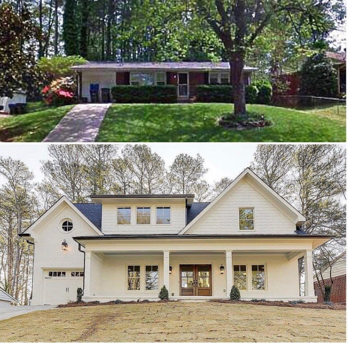 Before and after | Ranch house remodel, Home exterior ...