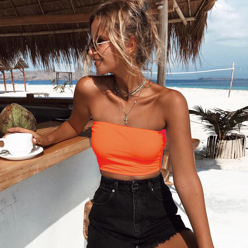 Women Sexy Neon Tube Crop Top Streetwear Night Party Club Off Shoulder Strapless