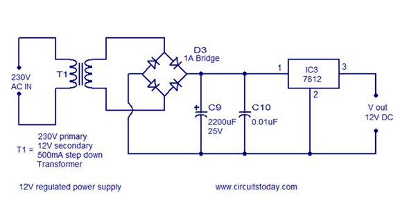 circuit diagram of rectifier and 7812 12v power regulatorcircuit diagram of rectifier and 7812 12v power regulator