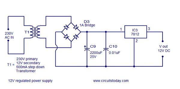circuit diagram of rectifier and 7812 12v power regulator
