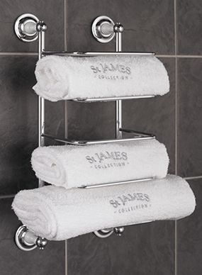 this wall mounted traditional bathroom towel rack is perfect for storing our st james collection monogrammed