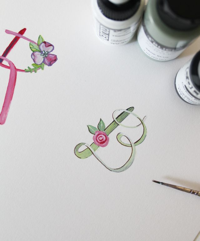 Another alternative is to paint the letters and flowers in acrylic. I followed the same steps sketching, but then used acrylic paint for both elements instead of ink and watercolor.