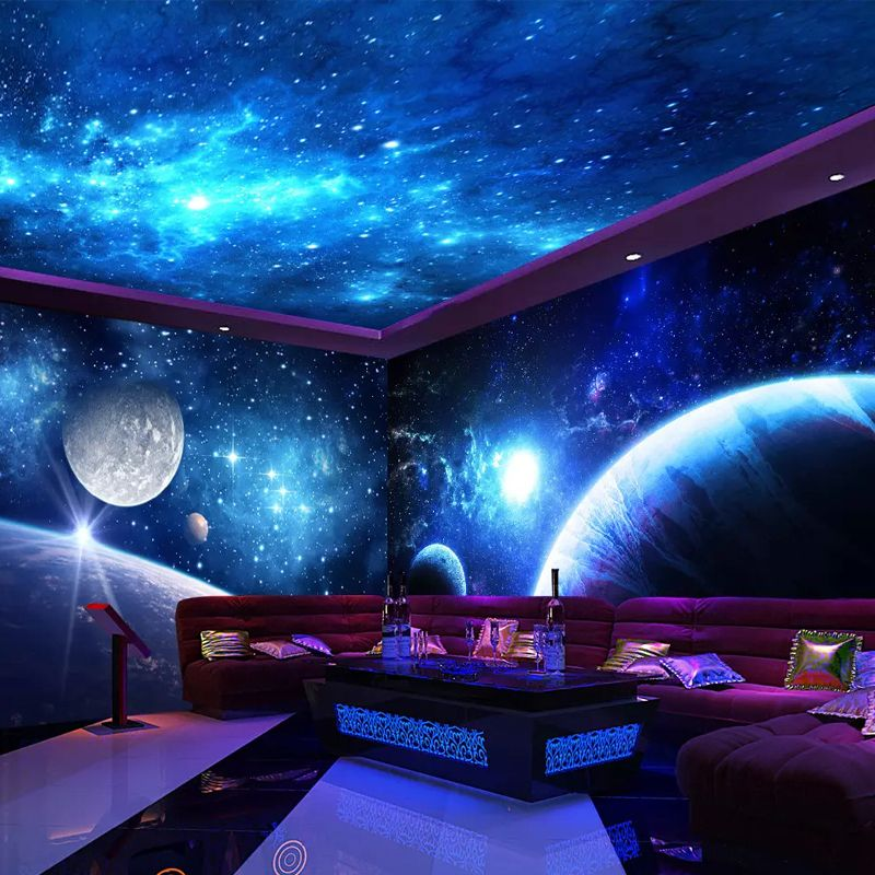 Pin By Custom Wallpapers And Murals On Whole House Wallpaper Space Themed Bedroom Kids Room Wallpaper Galaxy Bedroom