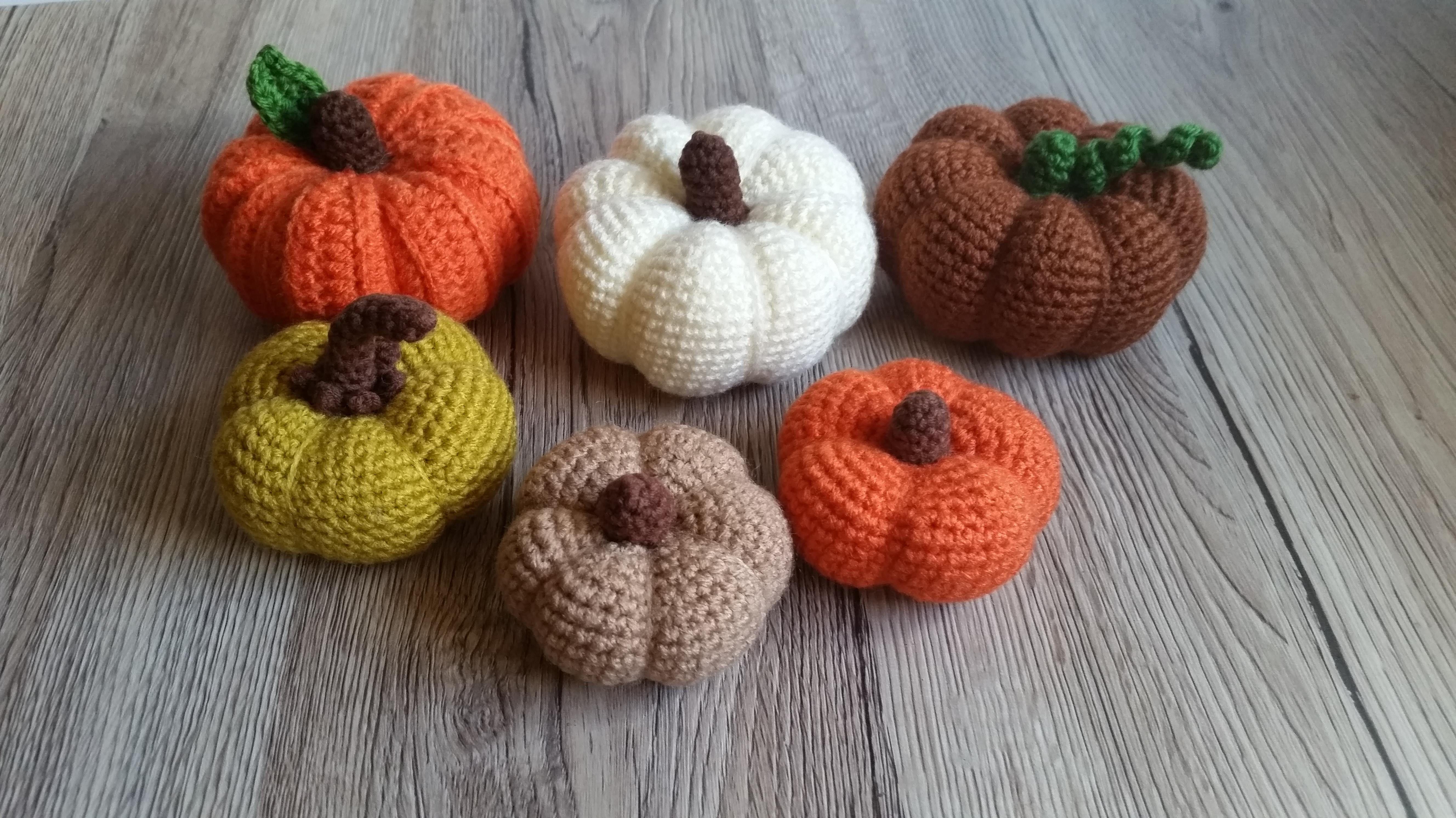 szydełkowe dynie, halloween, crochet pumpkin, dekoracje