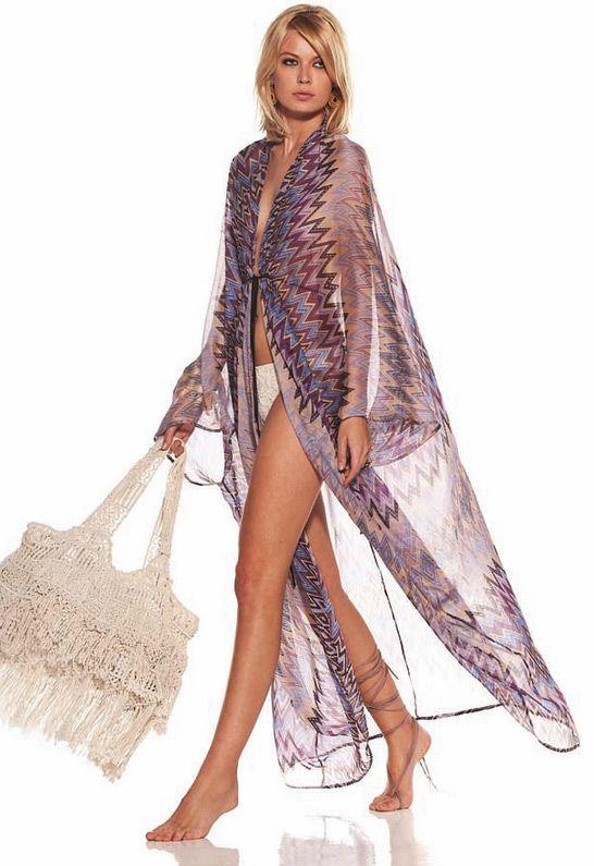 1903253558 Long dress cover up. Aztec open front kaftan(beach wear)
