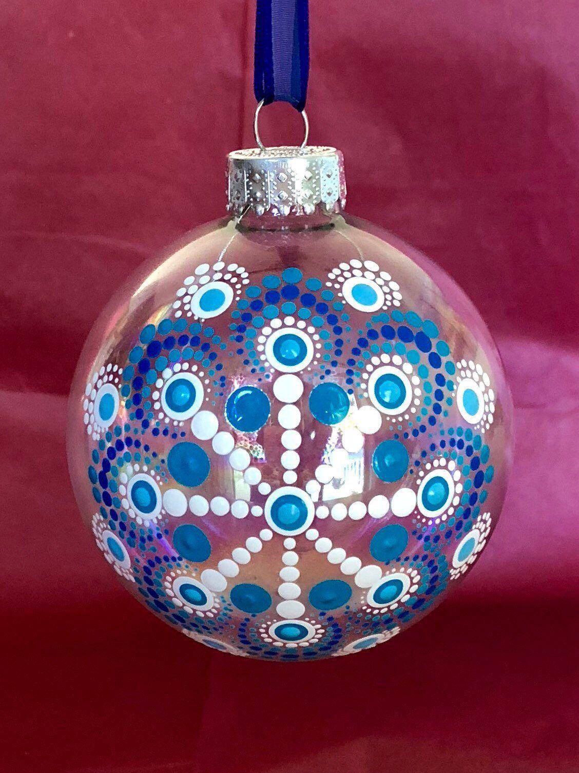 Lovely Snowflake Dot Mandala On Clear Glass Ball Ornament Etsy Clear Glass Ornaments Glass Ball Ornaments Painted Christmas Ornaments