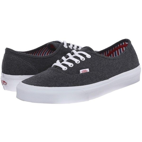 a184091f335385 Vans Authentic ((Wool Sport) Pewter White) Skate Shoes ( 45) ❤ liked on  Polyvore featuring shoes