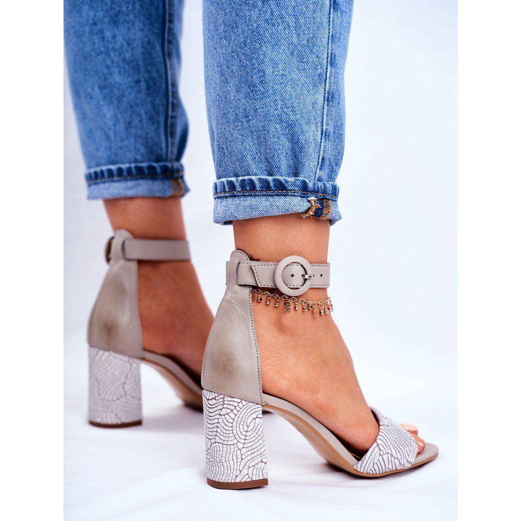 Damskie Sandaly Maciejka Skorzane Szare 04235 03 00 5 Shoes Heeled Mules Mule Shoe