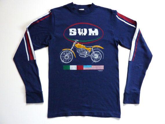 Vintage 80 S Tee Shirt Motorcycle Trial Swm 80s Tees Tee Shirts Tees
