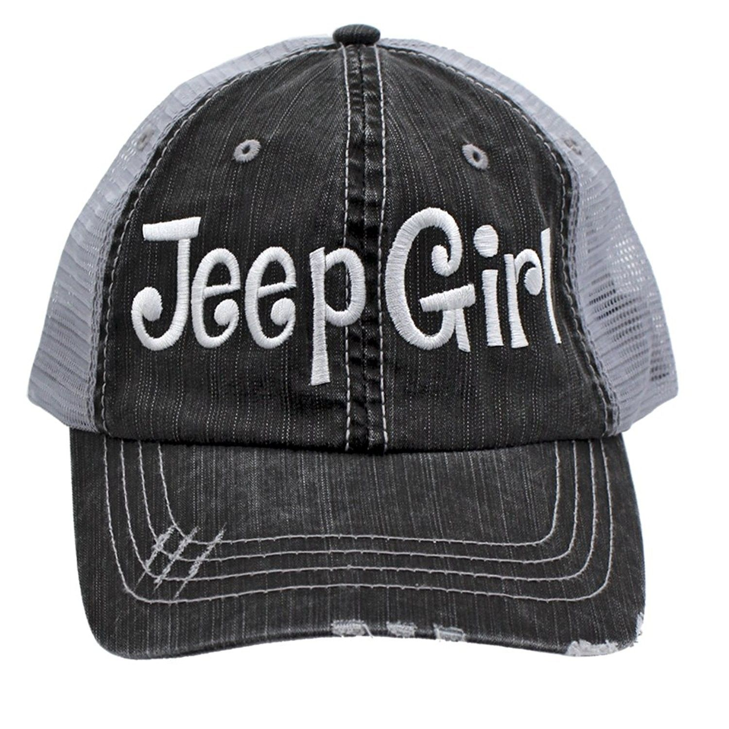 bf3d40d919ec4 Jeep Girl Embroidered Trucker Style Cap Hat Grey Grey White - CM12NV2WQF6 -  Hats   Caps